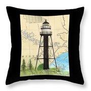 Duluth Harbor S Breakwater Inner Lighthouse Mn Nautical Chart Art Throw Pillow