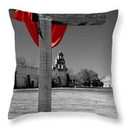 Mission San Juan Easter Cross Throw Pillow