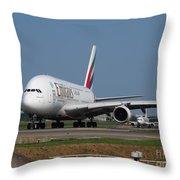 Emirates Airbus A380 Throw Pillow