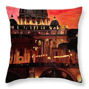 Eternal City  Rome St Peter Vatican At Dusk Throw Pillow