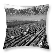 Farm Workers And Mount Williamson Throw Pillow