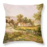 Farmyard Scene Throw Pillow