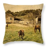 Feral Horses Of Ocracoke Throw Pillow