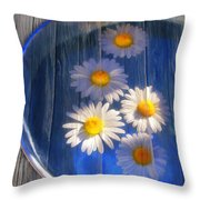 Five Daisies Throw Pillow