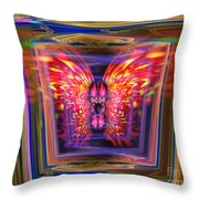 Flaming Butterfly Mixed Media Painting Throw Pillow