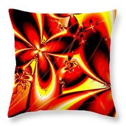 Flaming Red Flowers Throw Pillow