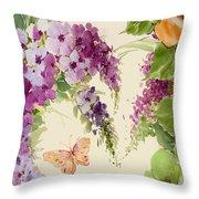 Flowering Butterfly Bush Throw Pillow