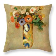 Flowers In A Painted Vase Throw Pillow by Odilon Redon