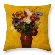 Flowers Throw Pillow by Odilon Redon