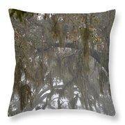 Fog In Mossy Oaks Throw Pillow