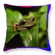 Frog Hideous Green Amphibian Throw Pillow