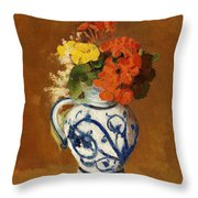 Geraniums And Other Flowers In A Stoneware Vase Throw Pillow