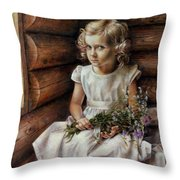 Girl With Wild Flowers Throw Pillow