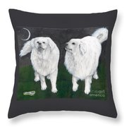 Great Pyrenees Dogs Night Sky Cathy Peek Animal Art Throw Pillow