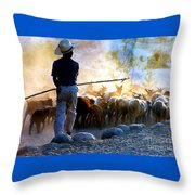 Herder Going Home In Mexico Throw Pillow