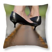 High Heels Shoes On Railroad Tracks Throw Pillow