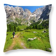 Hiking In Contrin Valley Throw Pillow