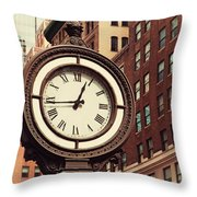 Historic Clock Of The Fifth Avenue Throw Pillow