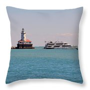 Historical Chicago Harbor Light Throw Pillow