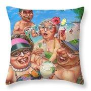 Humorous Snowbirds On Vacation - Senior  Citizen Citizens - Beach - Illustration  Throw Pillow