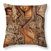 Icon Of The Blessed Virgin With Three Hands Throw Pillow by Novgorod School