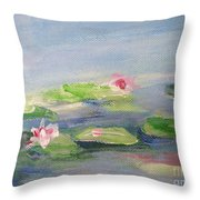 Impressionistic Lilies Monet Throw Pillow