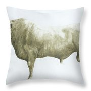 Islay Bull Throw Pillow by Lincoln Seligman