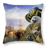 Japanese Spitz Art Canvas Print Throw Pillow