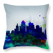 Kansas City Watercolor Skyline Throw Pillow