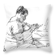 Lady On Smartphone  Throw Pillow