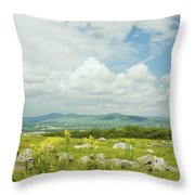 Large Blueberry Field With Mountains And Blue Sky In Maine Throw Pillow by Keith Webber Jr