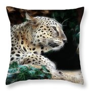 Leopard Watching It's Prey Throw Pillow