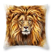 Lion Head In Front Throw Pillow