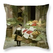 Little Boy At The Market Throw Pillow