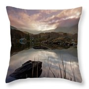 Llyn Ogwen Sunset Throw Pillow