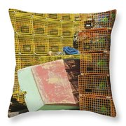 Lobster Traps And Dinghy On Coast In Maine Throw Pillow
