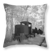 Locomotive With Wagons In Infrared Light In The Forest In Netherlands Throw Pillow by Ronald Jansen