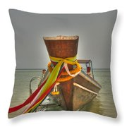 Long Tail Boat Throw Pillow