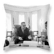 Lyndon Baines Johnson 1908-1973 36th President Of The United States In Talks With Civil Rights  Throw Pillow by Anonymous