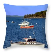 Maine Lobster Boat Throw Pillow