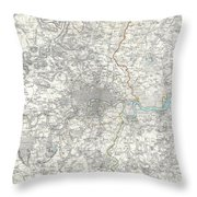 Map Of London And Environs Throw Pillow