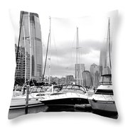 Marina In Black And White Throw Pillow