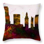 Miami City Skyline Throw Pillow