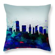 Miami Watercolor Skyline Throw Pillow