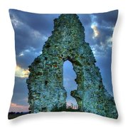 Midley Church Ruins At Dusk Throw Pillow