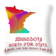 Minnesota State Map Collection 2 Throw Pillow
