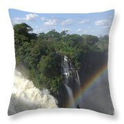 Mist And Rainbow At Victoria Falls Throw Pillow
