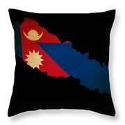 Nepal Outline Map With Grunge Flag Throw Pillow