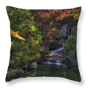 Nishinomiya Japanese Garden - Waterfall Throw Pillow