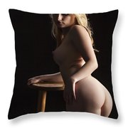 Nude Relaxing At The Bar 1095.02 Throw Pillow